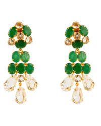 Bounkit   Green Faceted Emerald & Clear Quartz Earrings   Lyst