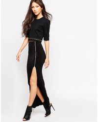 Oh My Love Black H My Love Maxi Skirt With Zip Detail
