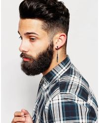 ASOS - Leaf Spike Earring And Feather Drop Earring In Black for Men - Lyst
