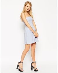 ASOS | Blue Bandeau Sundress With Button Detail | Lyst