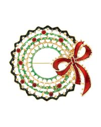 R.j. Graziano | Green Christmas Wreath Pin | Lyst