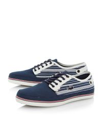 Dune - Blue Saulieu 3 Stripe Detail Boat Shoe for Men - Lyst
