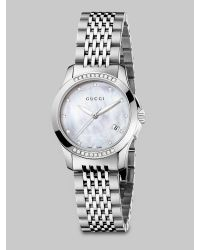 Gucci - Metallic G-timeless Diamond, Mother-of-pearl & Stainless Steel Bracelet Watch - Lyst