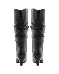 Dune Black Reta Rouched Detail Calf Boots