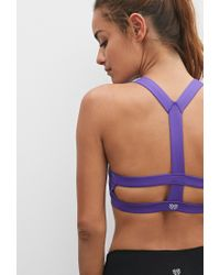 Forever 21 | Purple Medium Impact - Caged Back Sports Bra | Lyst