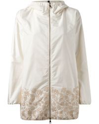 Moncler - White Floral-Embroidered Quilted Jacket - Lyst