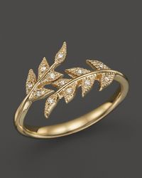 Mizuki | Metallic 14k Yellow Gold Double Branchlet Ring With Diamonds | Lyst