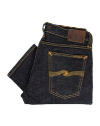 Nudie Jeans | Blue Tight Long John Twill Rinsed Indigo Denim Jeans 111287 for Men | Lyst