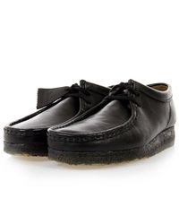 Clarks | Wallabee Black Leather Shoes for Men | Lyst