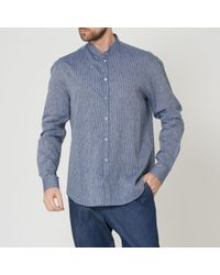Emporio Armani Blue Fantasia Striped Grandad Collar Shirt for men