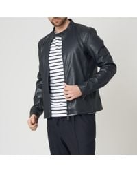 Emporio Armani - Blue Leather Jacket for Men - Lyst