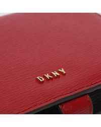 DKNY Lulu Red & Black Textured Leather Carryall Cross-body Wallet