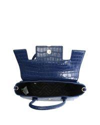 Versace Jeans - Blue Plaque Navy Moc Croc Satchel Bag - Lyst