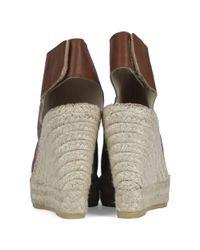 Vidorreta Brown Polonium Tan Leather Wedge Espadrilles