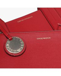 Emporio Armani Frida Tall Red Textured Shopper Bag