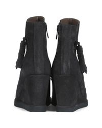 Pedro Miralles Gray Redress Grey Suede Tassel Wedge Ankle Boots