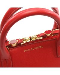 Lulu Guinness - Small Red Grainy Leather Bobbi Cross-Body Bag - Lyst