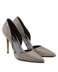 Daniel Nicolette Gold Metallic Mesh Two Part Court Shoe