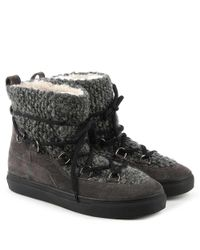 Kennel & Schmenger Gray Abac Grey Suede Shearing Lined Ankle Boot