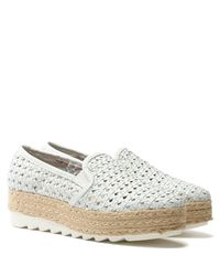 Daniel Footwear Shirlington White Leather Woven Espadrille Loafer