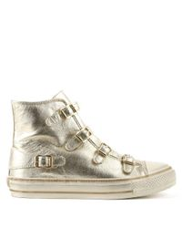 Ash | Metallic Virgin Bis Platinum Leather High Top Trainer | Lyst