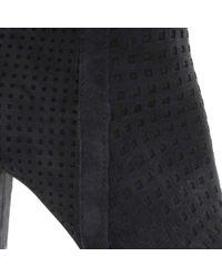 Daniel Blue Rosemead Navy Suede Perforated Block Heel Ankle Boot