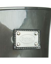 Scholl - Gray Grey High Shine Wedge Wellington Boot - Lyst