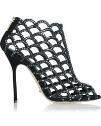 Sergio Rossi - Black Suede Women'S Caged Ankle Boot - Lyst