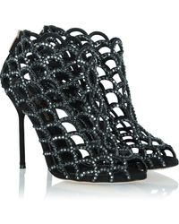 Sergio Rossi | Black Suede Women'S Caged Ankle Boot | Lyst
