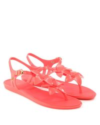 Melissa Solar Hawaii Pink Floral Toe Post Flip Flop