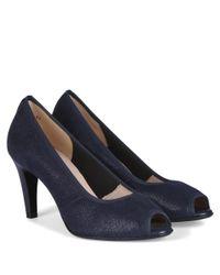 Peter Kaiser Blue Sibylle Navy Metallic Suede Peep Toe Court Shoes