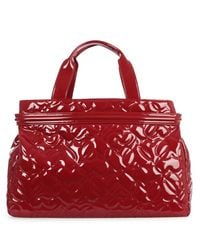 Armani Jeans Red Heart Burgundy Patent Shopper