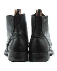 Jack & Jones Sting Black Leather Lace Up Ankle Boot for men