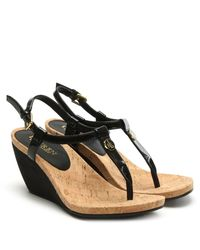 Lauren by Ralph Lauren Reeta Black Patent Corked Wedge Sandals