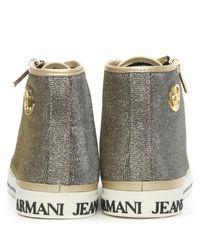 Armani Jeans Gold Metallic High Top Trainer