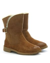Ugg - Brown Jannika Chestnut Suede Twinface Ankle Boots - Lyst
