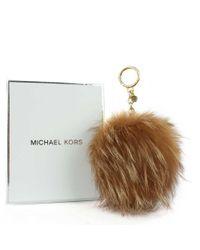 Michael Kors - Xxl Natural Fur Pom Pom Keyring - Lyst