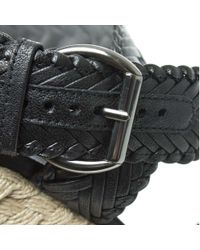 Stuart Weitzman Elixir Black Leather Woven Strap Espadrille Wedge