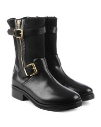 Daniel Nadeen Black Leather Buckled Calf Boot