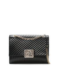 Class Roberto Cavalli Large Celebrity Black Leather Quilted Shoulder Bag