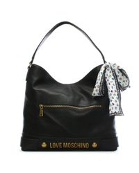 Love Moschino Bee Black Slouchy Shoulder Bag