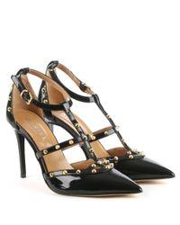 Daniel Tiff Black All Patent Studded Court Shoe
