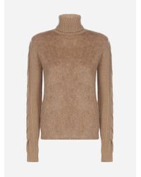 Max Mara Brown Wool, Cashmere And Mohair Turtleneck