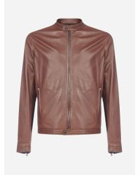 Tagliatore Brown Stanley Leather Jacket for men