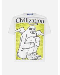 T-shirt X Civilization in cotone di Junya Watanabe in Multicolor da Uomo