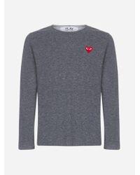 Pull in lana con logo-cuore di COMME DES GARÇONS PLAY in Gray da Uomo