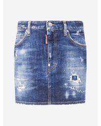 DSquared² Blue Stretch Denim Miniskirt