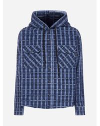Off-White c/o Virgil Abloh Blue Check Print Cotton Hooded Shirt-jacket for men