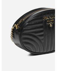 Prada Black Diagramme Quilted Leather Shoulder Bag