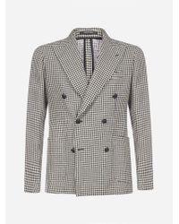 Tagliatore Multicolor Darrel Double-breasted Houndstooth Linen And Cotton Blazer for men